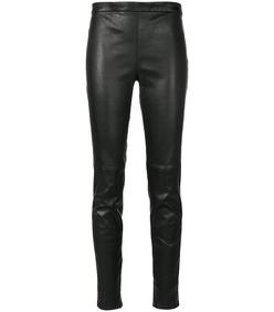 black mid waist leather legging