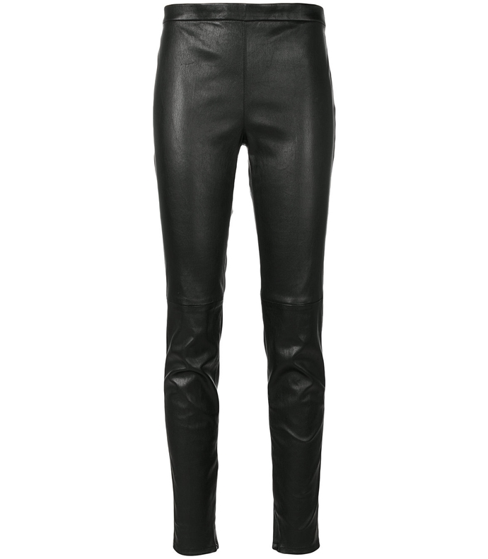 black mid waist leather legging