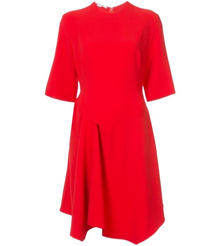 red drape detail dress