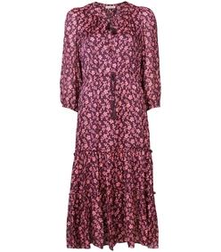 burgundy tie waist floral dress