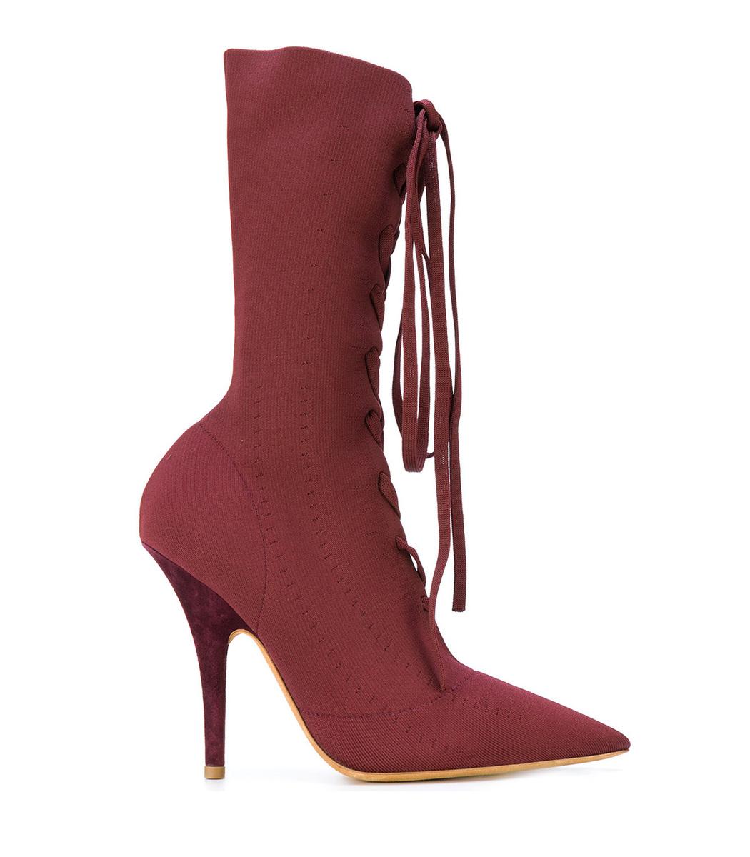 YEEZY Burgundy Knit Sock Boots TSbQK1