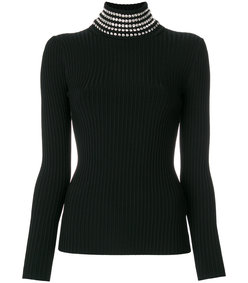 black rib knit sweater with gem embellished neck