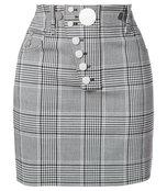 black checked woven mini skirt