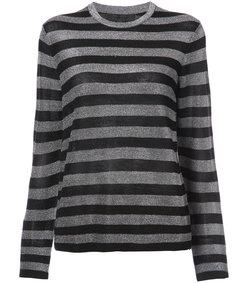 black crew neck striped long sleeve t-shirt
