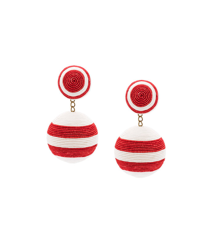 red striped drop earrings