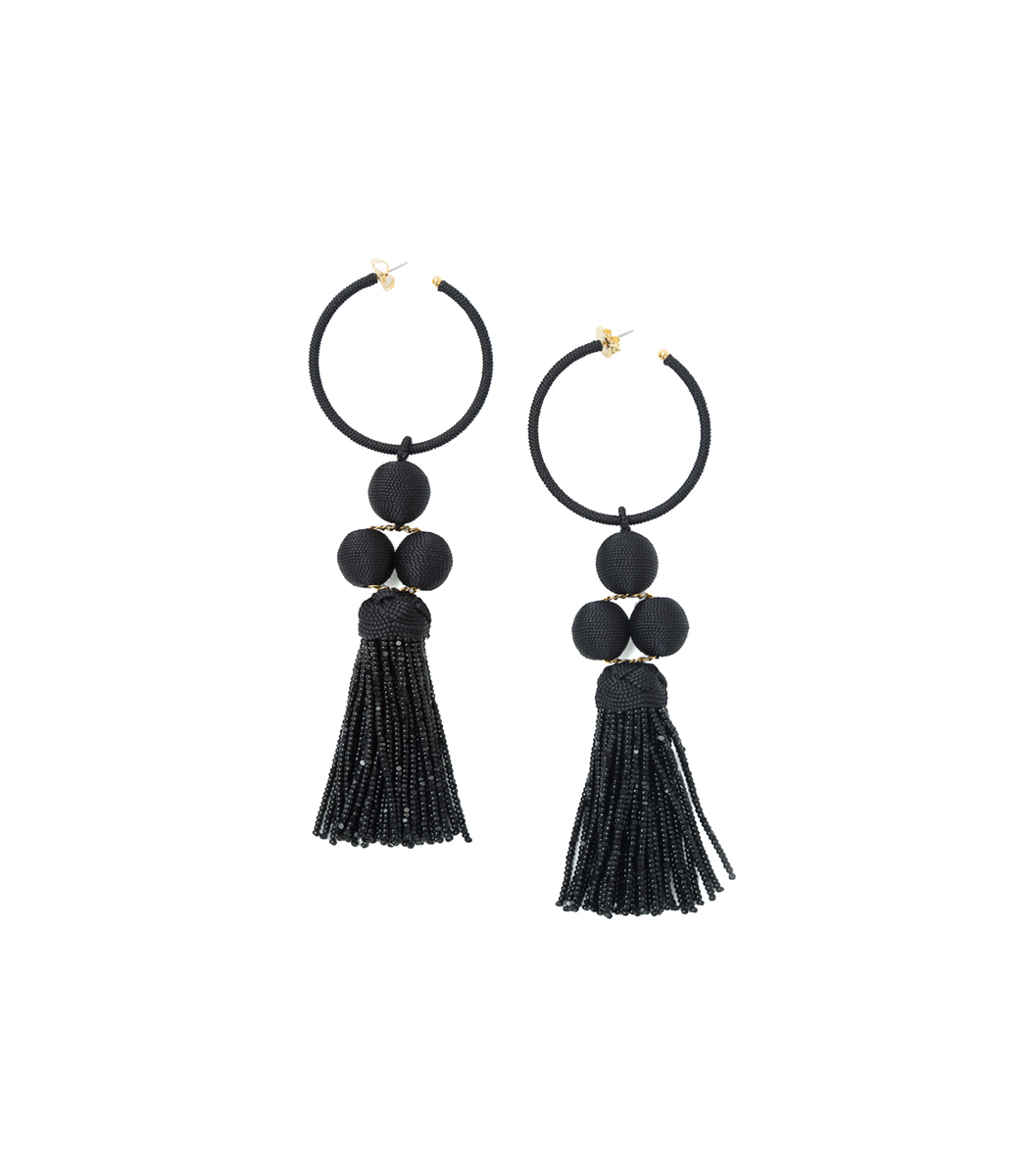 Rebecca De Ravenel Black Cha Cha Tassel Earring