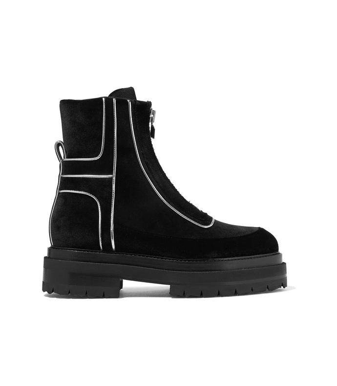 black machina metallic ankle boots