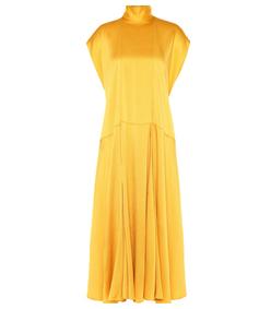 yellow hammered satin dress