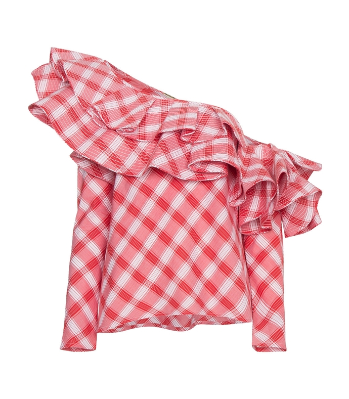 red/white mangas coloradas one shoulder ruffled checked top