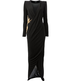 black embroidered viscose gown