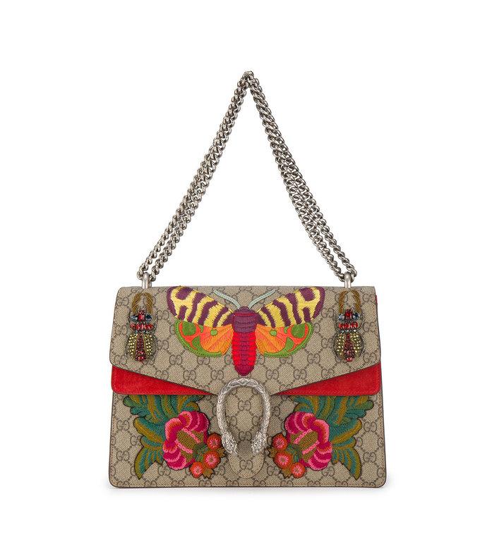 multicolor moth embroidered dionysus shoulder bag