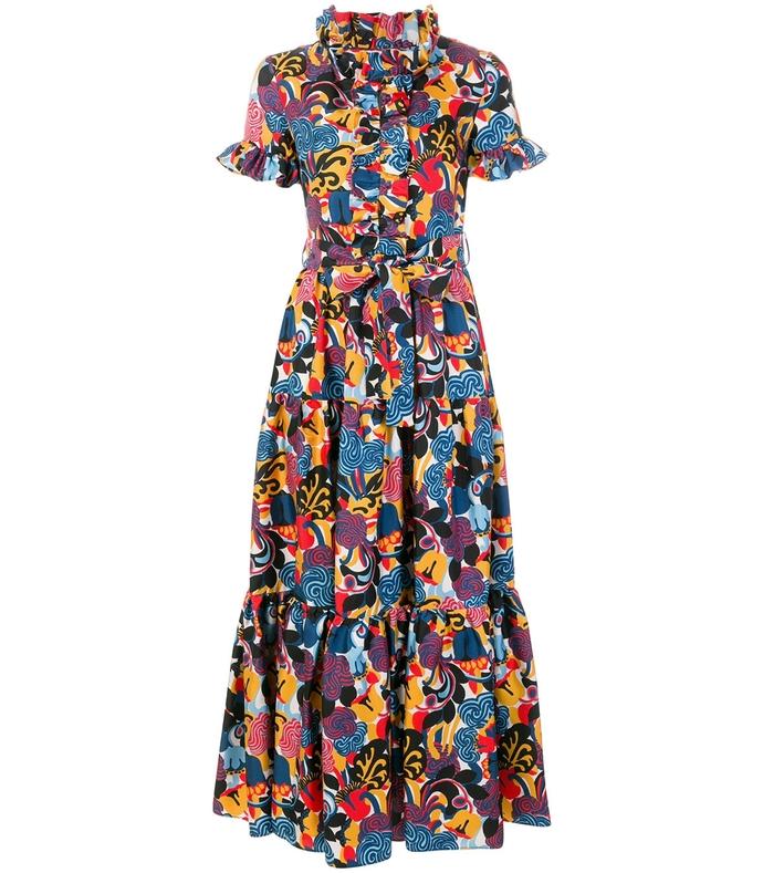 Multicolor Tie Waist Floral Print Silk Dress LDJ37RLO-NM-L