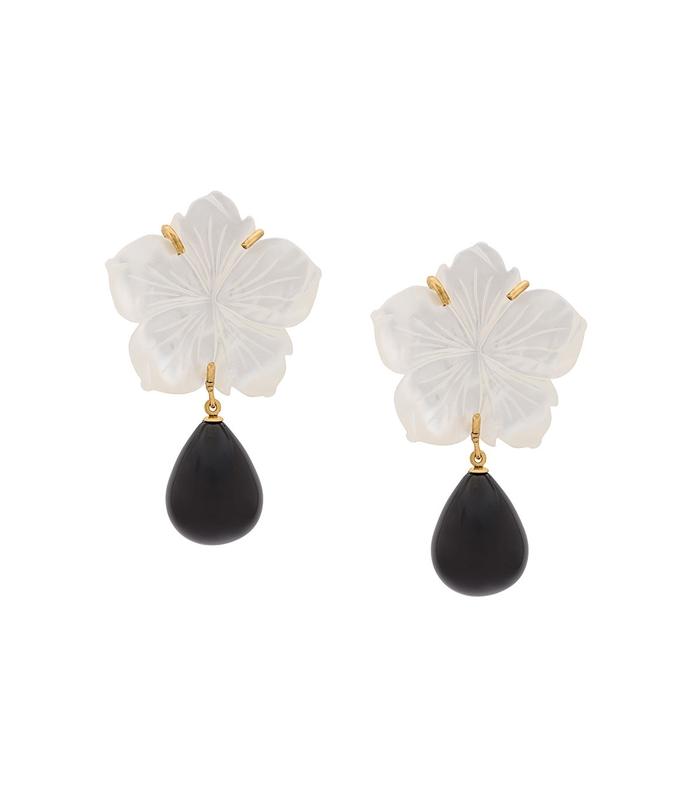 Black/White Paperwhite Earrings LF37P011BWOS