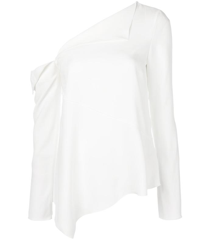 white asymmetric one-shoulder crepe top