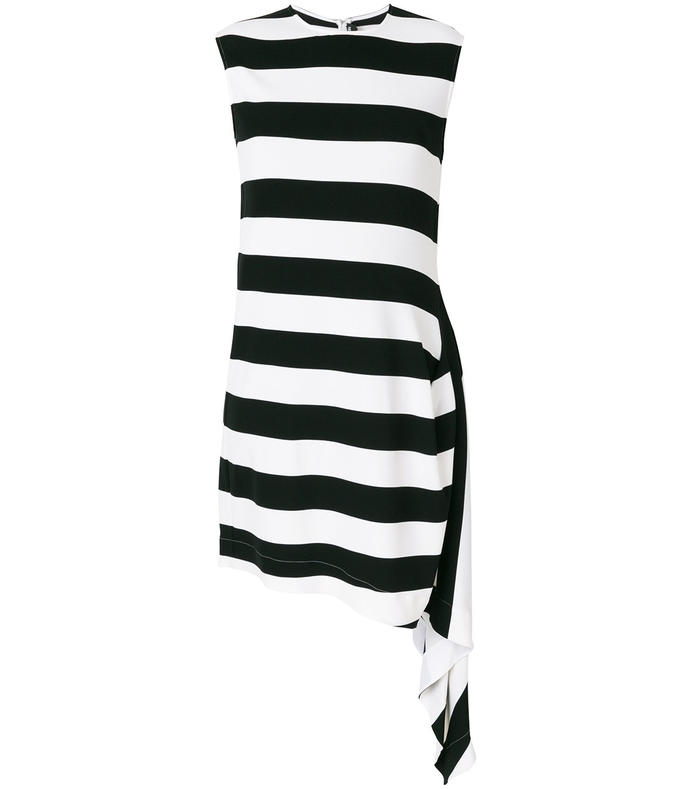 Black White Striped Mini Flag Dress CAL37P84-BW-44I/8