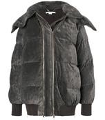 grey double zip padded coat