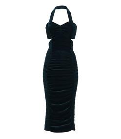 blue olympia velvet  dress