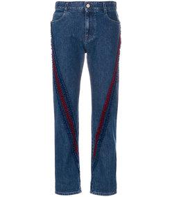blue ruffle-trimmed boyfriend jeans
