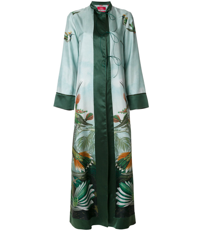 Green Forest And Bird Print Kimono Dress