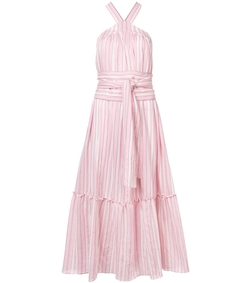 pink halterneck striped dress