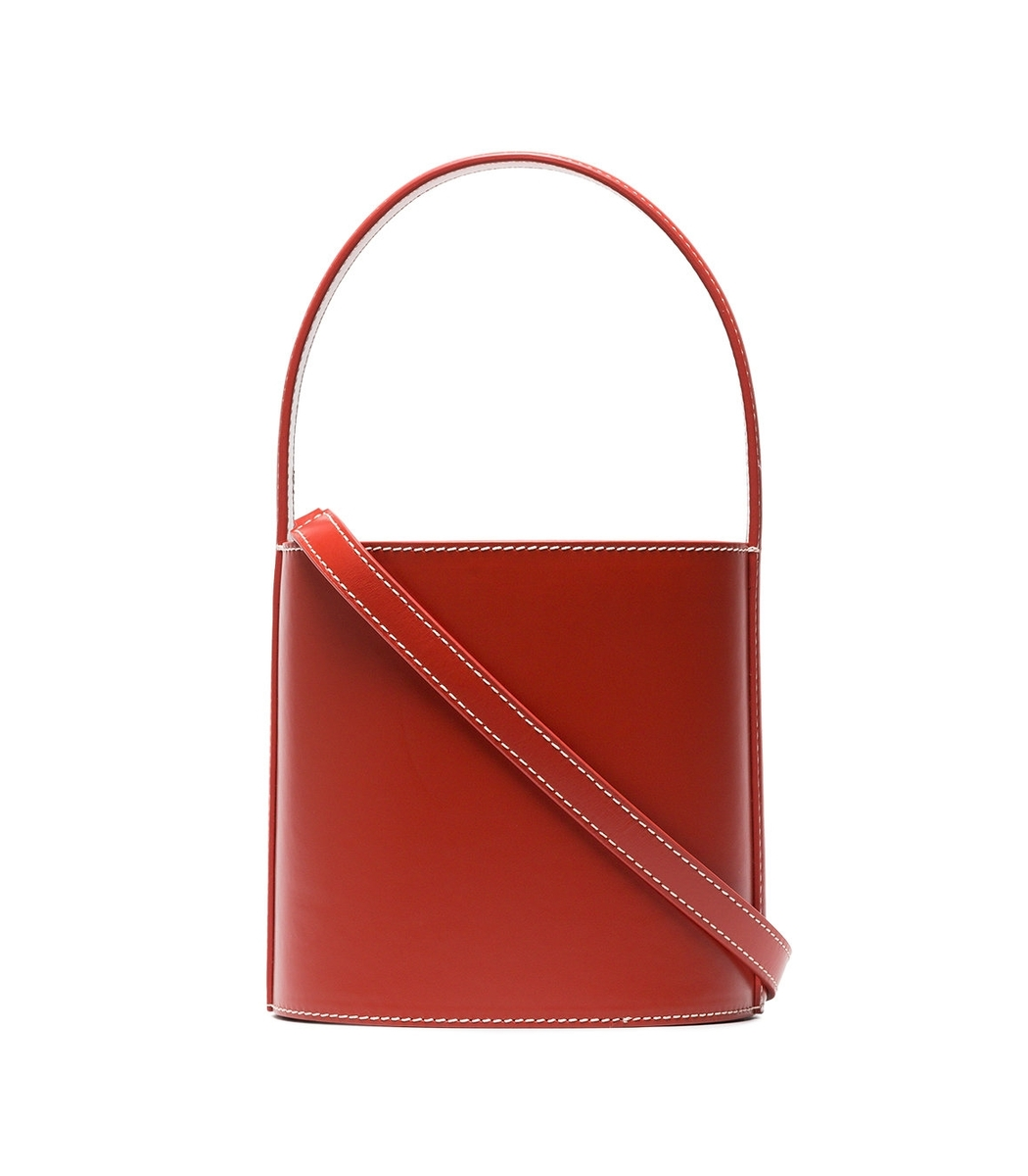 Red Bissett Leather Bucket Bag