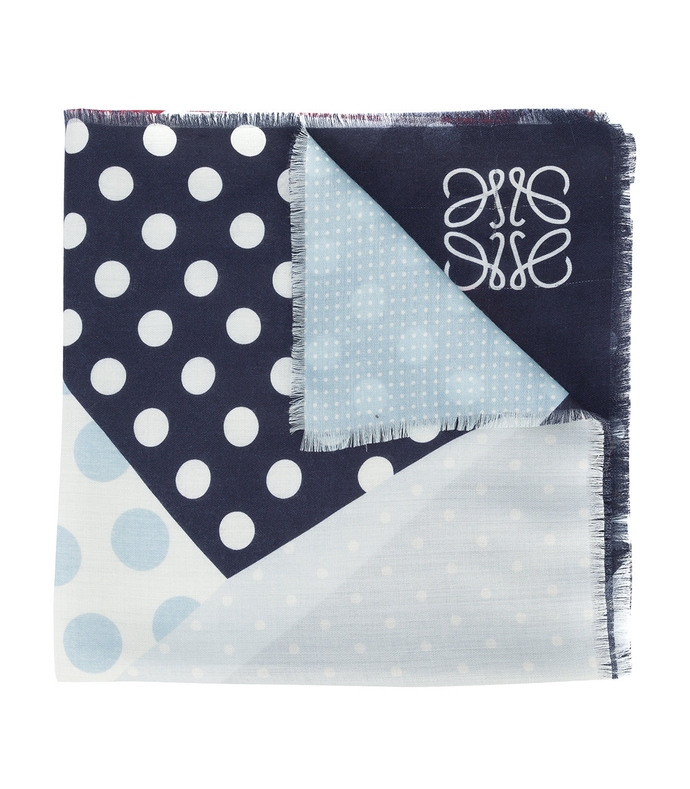 multicolor patchwork polka dot scarf