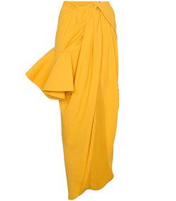 yellow sol asymmetric ruffled skirt
