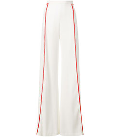 white high waisted side stripe trousers