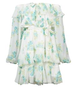 blue/white off the shoulder ruffle mini dress