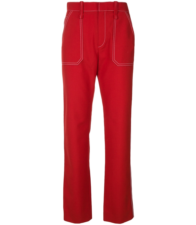 red contrast stitch straight leg trousers