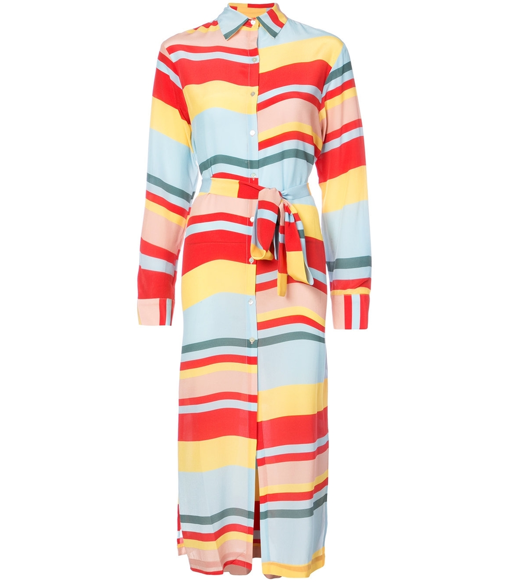 Asceno Stripe Silk Shirtdress
