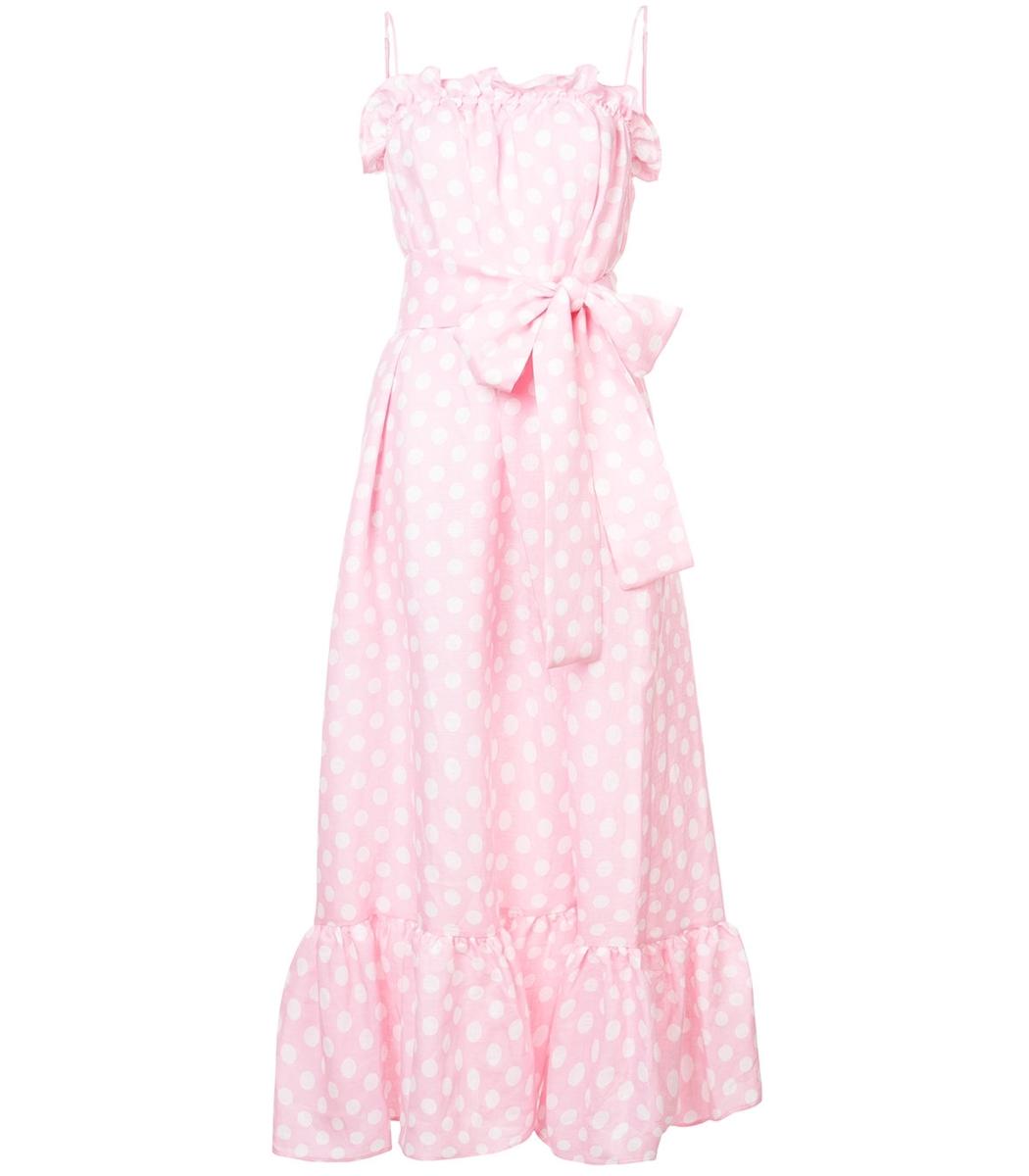 8891848ac7 Lisa Marie Fernandez Liz Polka Dot Linen Maxi Dress - Pink Size 2 In Baby  Pink