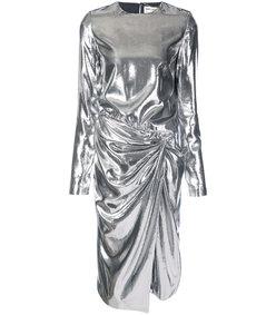silver gathered waist dress