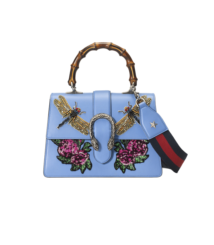 blue 'dionysus' embroidered leather satchel