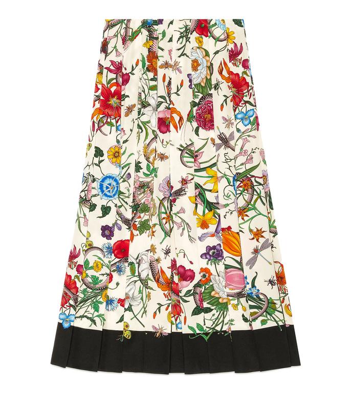 multicolor pleated silk skirt