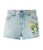 blue embroidered denim short