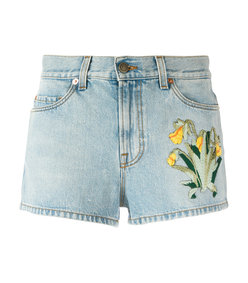 blue embroidered denim short