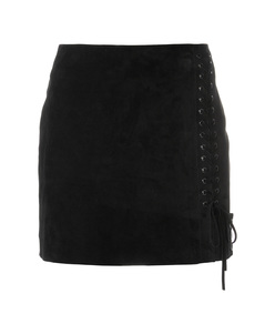 black side lace-fastened fitted skirt