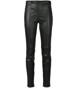 black mid waist leather leggings