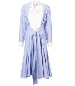 blue asymmetric shirt dress
