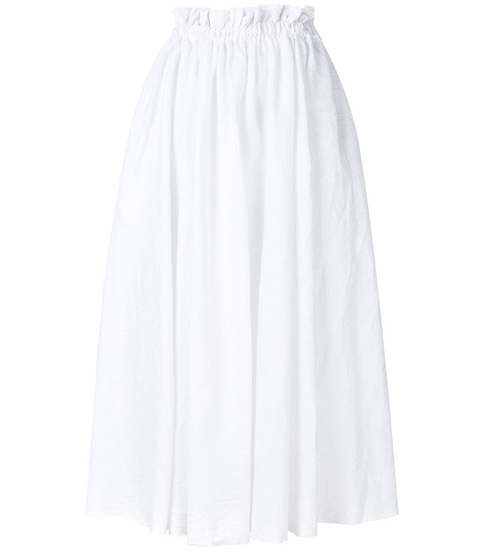 white high-waisted full skirt