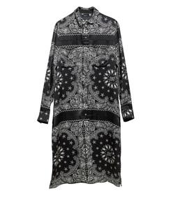 black long bandana button down dress