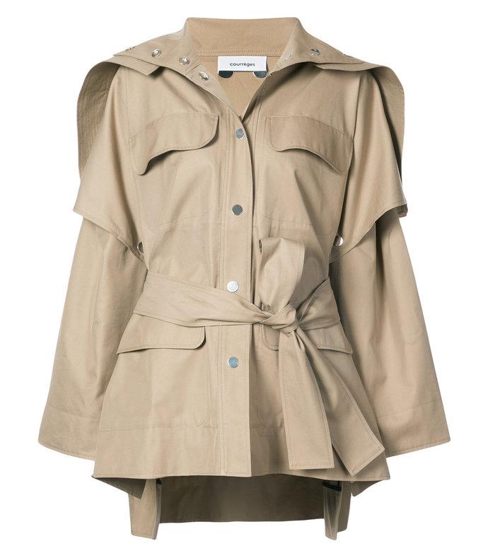 nude neutrals oversized belted jacket