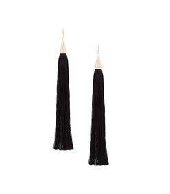 black long silk tassel earrings