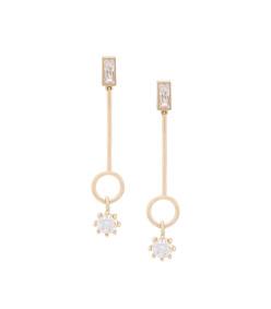 gold baguette estate line earrings