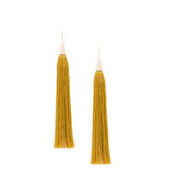 gold long silk tassel earrings