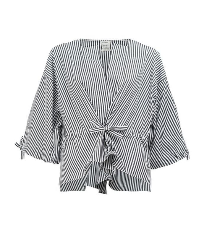 black striped wide sleeve blouse