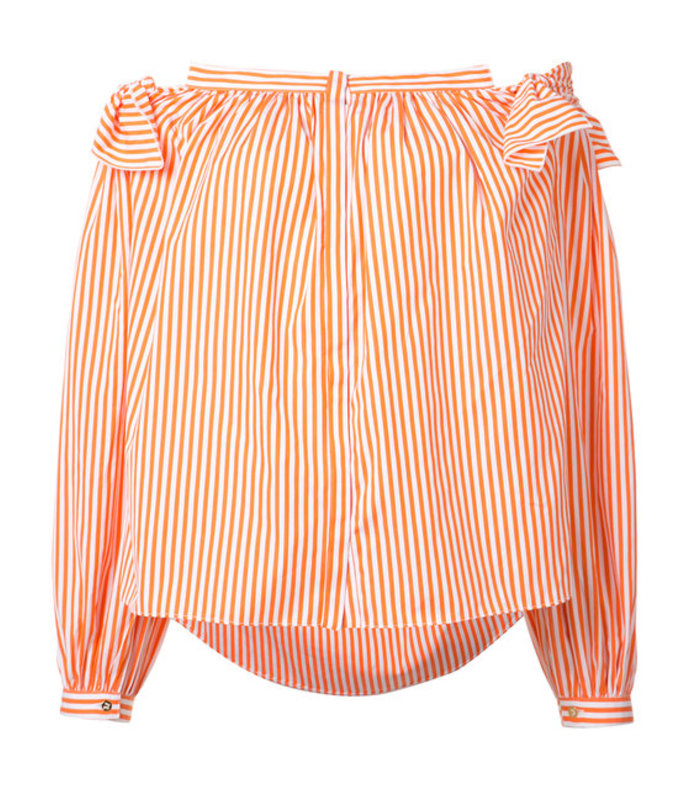 orange striped off-shoulder top