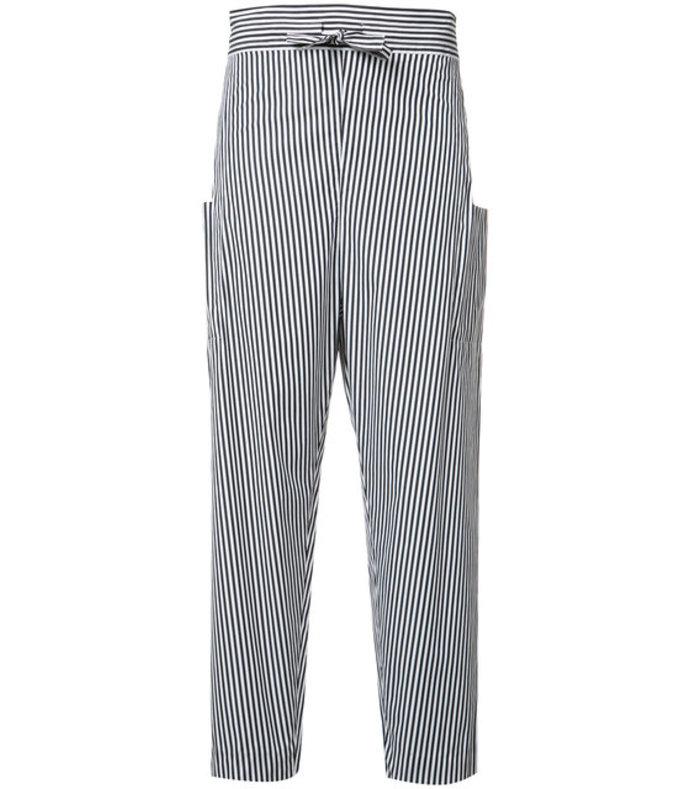 black pinstriped trouser