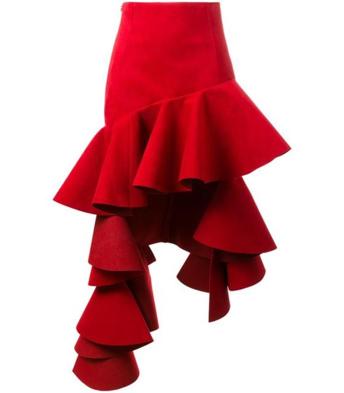 red ruffled high-low skirt
